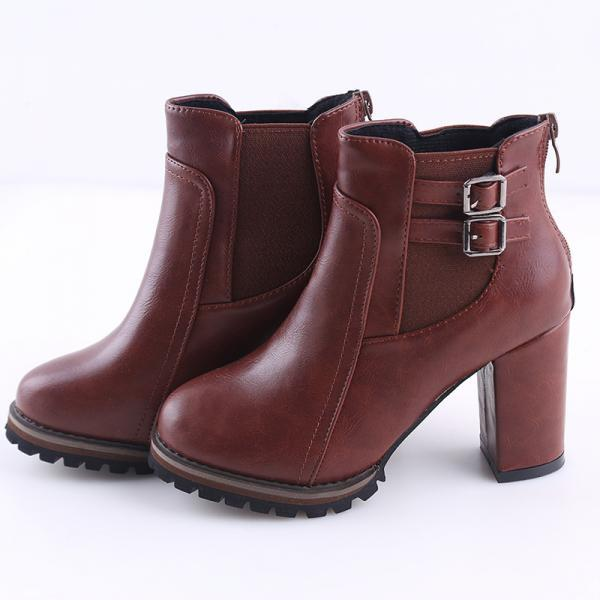 Chunky Heel Buckle Design Brown Ankle Boots