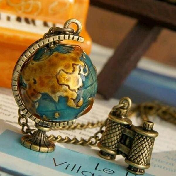 Travel Theme World Globe and Binoculars Charm Necklace