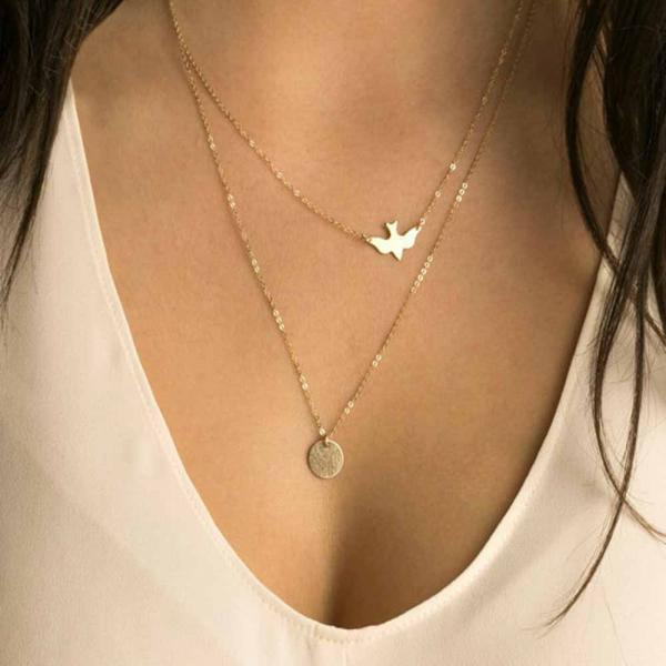 Gold Charmed Swallow Necklace