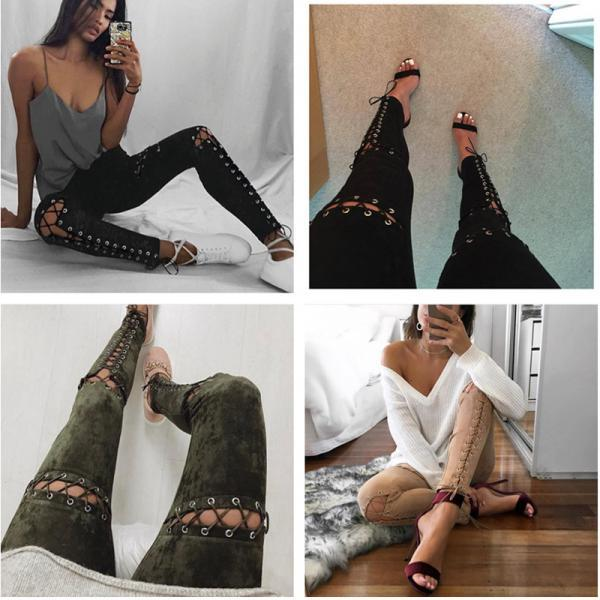 Sexy Gothic Punk Lace up Skinny Leggings