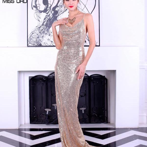 Gold Sequined Long Party Dress