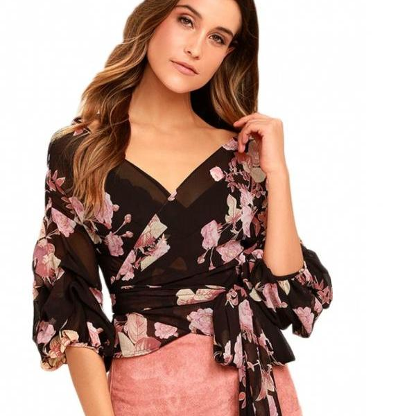 Black Floral Print Chiffon Plunge V Long Puff-Sleeved Wrap Top