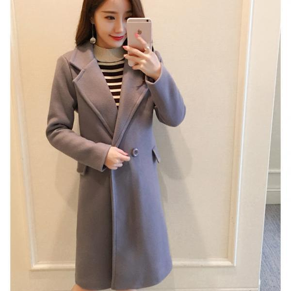 Elegant Grey Autumn and Winter Coat