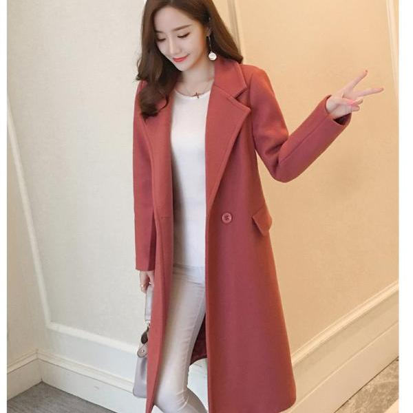 Classy Red Autumn and Winter Woolen Coat