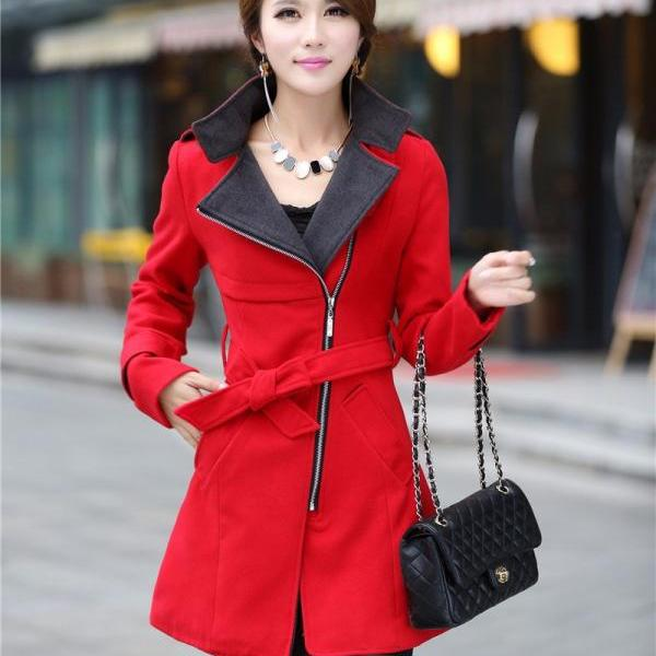 Red Belted Woolen Winter Coat