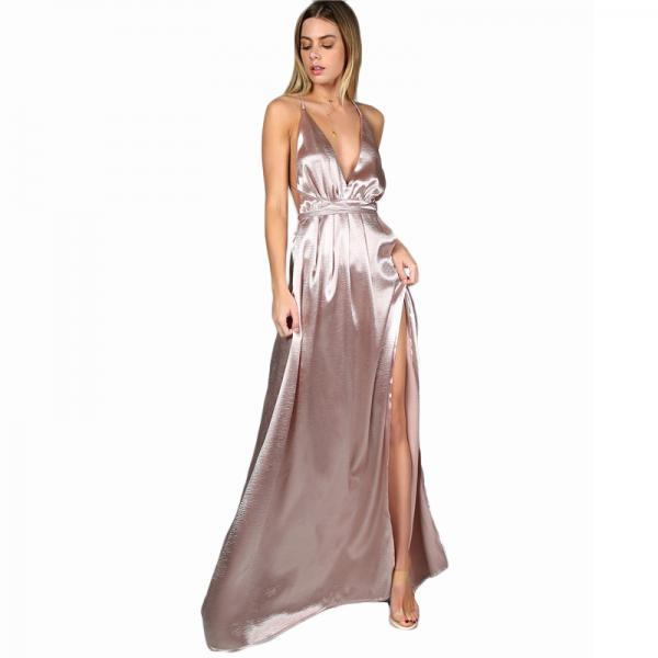 Pink V Neck Sexy Satin Cross Back Maxi Dress