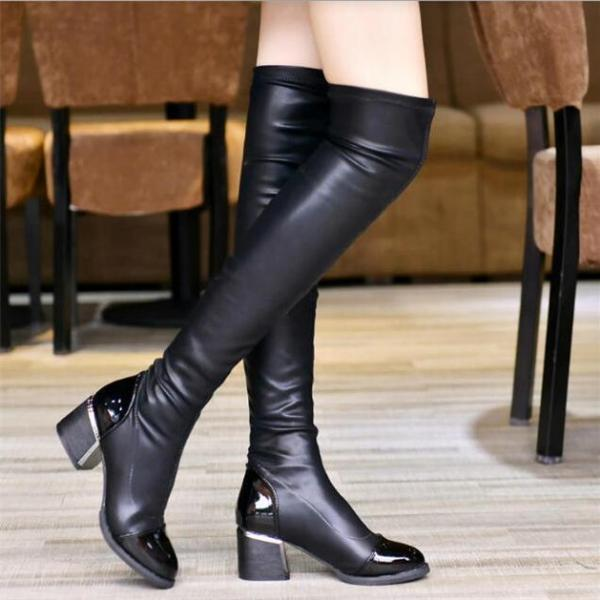 Over The Knee Black Autumn and Winter Fashion Boots