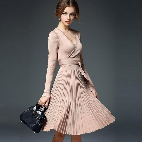 Classy Pleated Long Sleeve Dress for Autumn and Winter