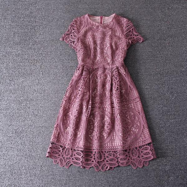 Elegant Short Sleeve Lace Party Dress