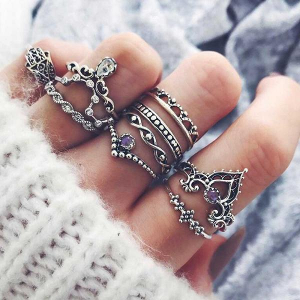 Bohemian 10 Pieces Ring Set