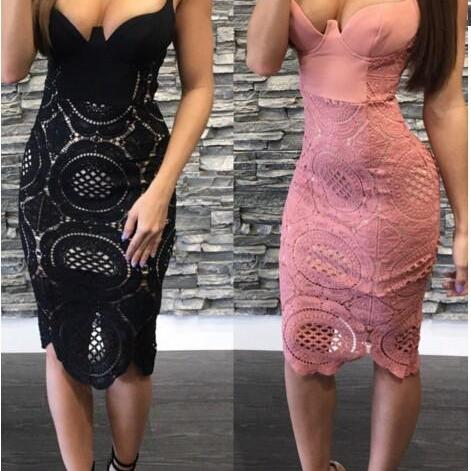 Sexy Summer Party Lace Body con Dress in Pink and Black