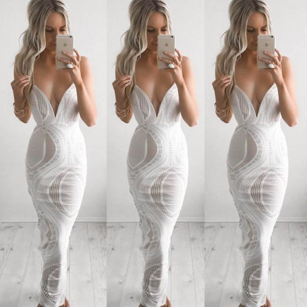 Spaghetti Strap Lace Patch work Body con Long Dress