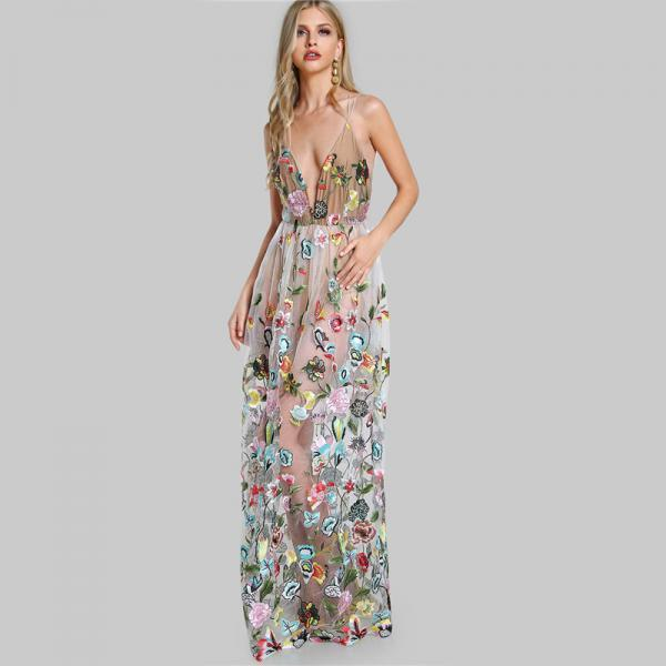 Classy Floral Embroidery Lace and Chiffon Evening Long dress
