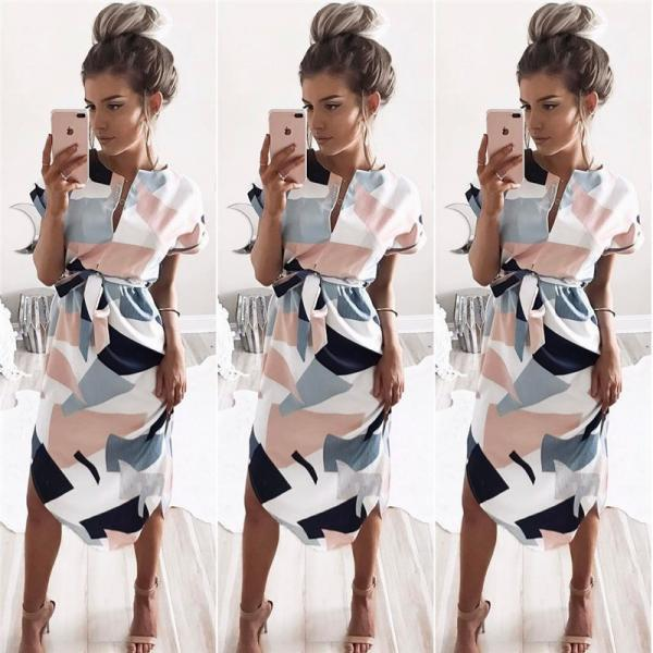 Chic Short Sleeve Printed Dress
