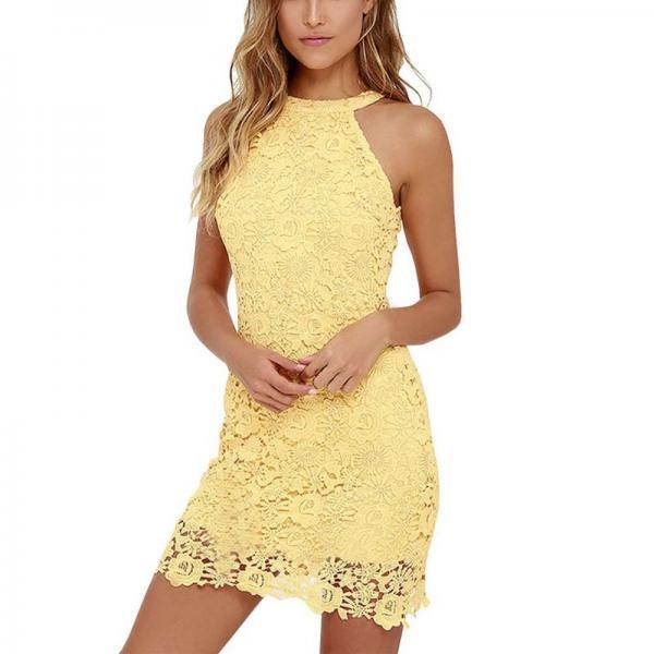Yellow Lace Halter Dress