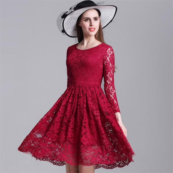 Beautiful Full Lace Long Sleeve A Line Dress