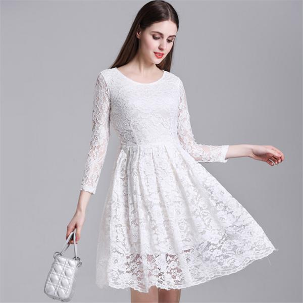 A Line White Long Sleeve Lace Party Dress