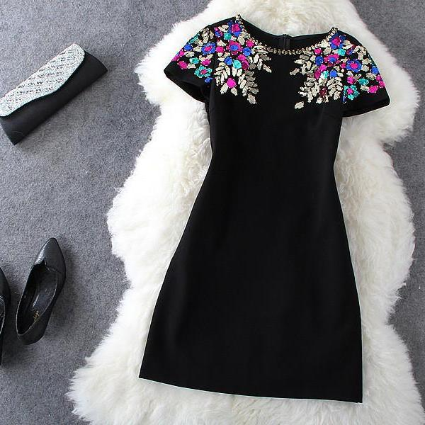 Sequined Black Short Sleeve Dress