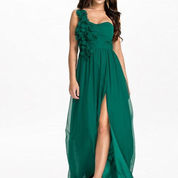One Shoulder Chiffon Long Dress in Green and Black