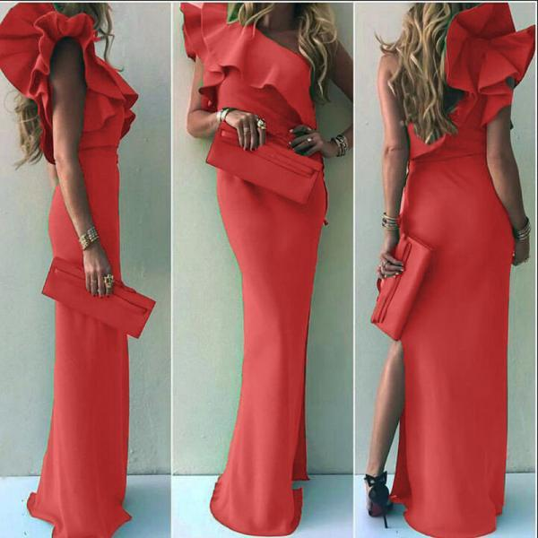 One Shoulder Ruffled Design Long dress with Slit