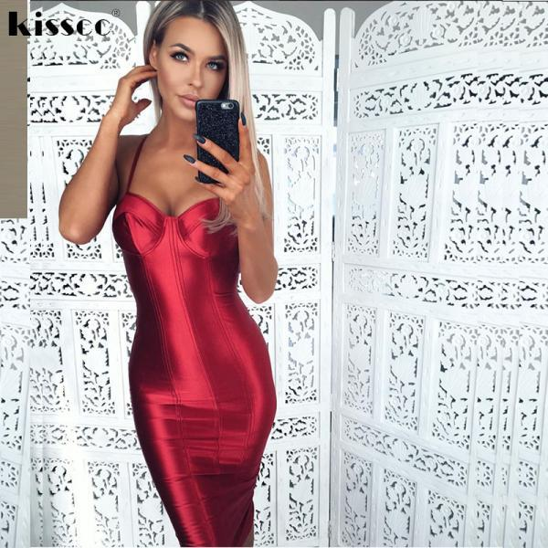 Sexy Spaghetti Strap Body Red Party Dress