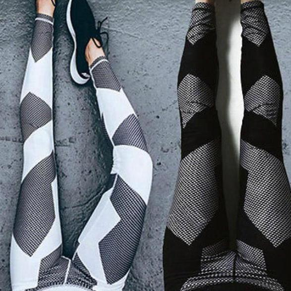 Black and White Yoga Pants Fitness Leggings