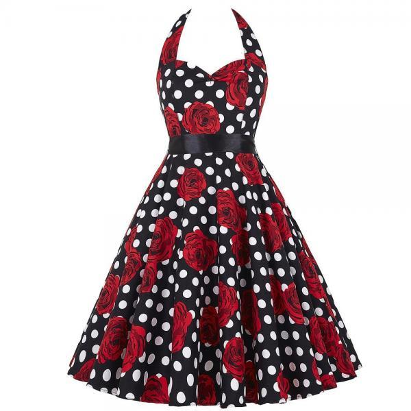 Party Polka dots Floral Print Vintage Rockabilly Dress