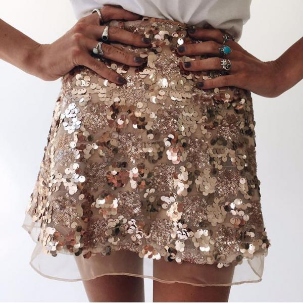Stylish High Waist Sequined Mini Skirt