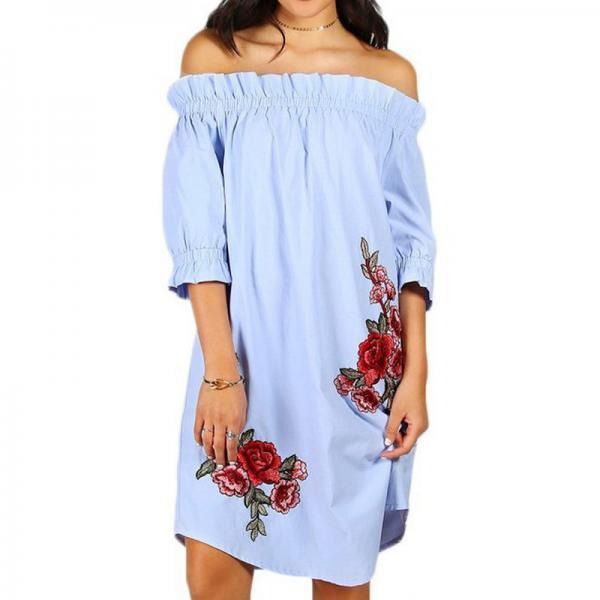 Flower Embroidery Off Shoulder Summer Dress