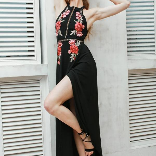 Chiffon Halter Black Long Embroidery Dress