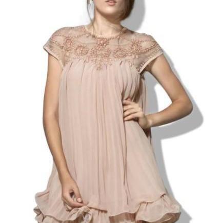 Gorgeous Embroidery Lace Pleated Chiffon Party Dress
