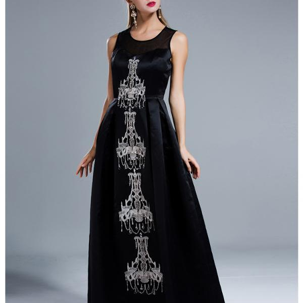 Classy Black Beaded Ball Gown Evening Dress