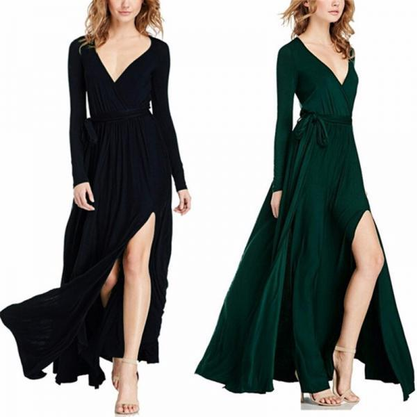 Long Sleeve V Neck Elegant Maxi Dress with Slit