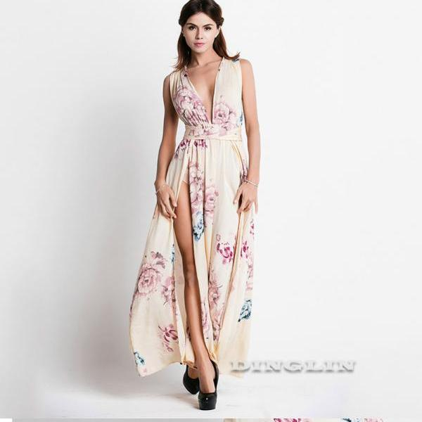 Plunge V Neck Women Sleeveless Chiffon Long Dress with Slit