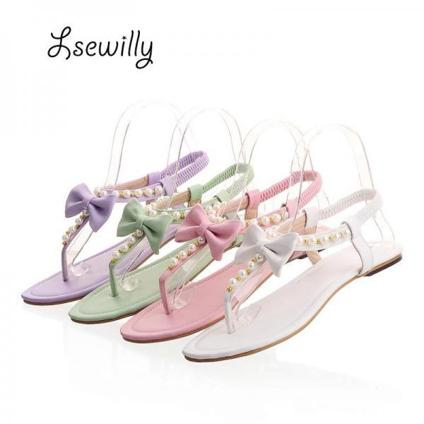 Beautiful Spring Summer Pearl beaded Bow Sandals