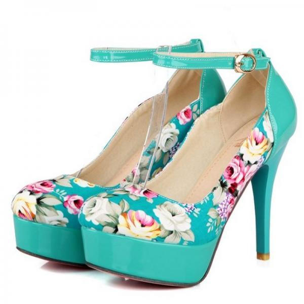 Floral Printed High Heel Pumps with Slender Ankle Straps
