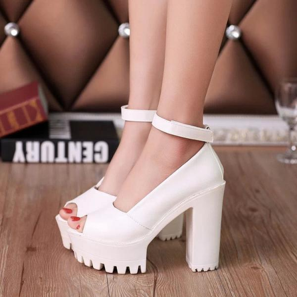 Peep Toe Ankle Strap Chunky Heels Summer Sandals