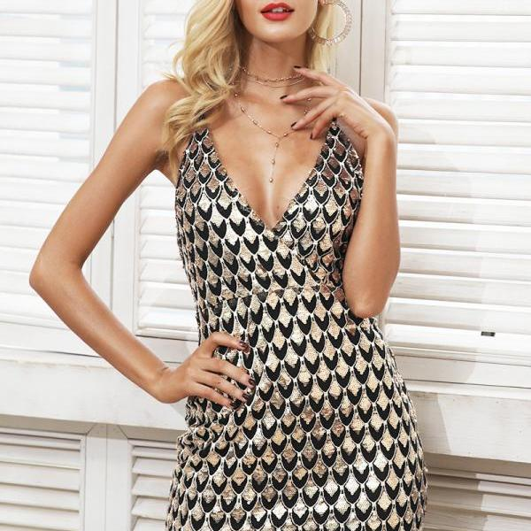V Neck Sexy Sequined Spaghetti Strap Party Dress