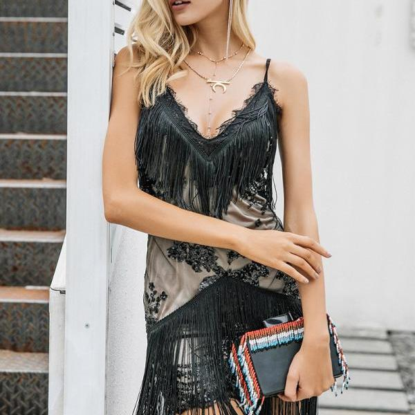 Sequined V Neck Fringed Lace Party Dress