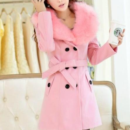 Classy Faux Fur Collar Warm Woolen Winter Coat