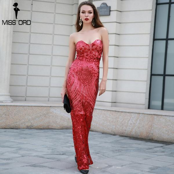Sexy Off Shoulder Sequined Red Mermaid Long Dress