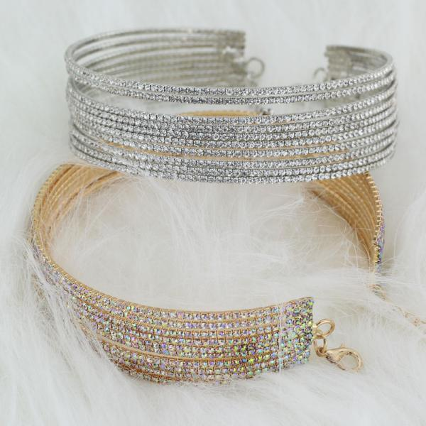 Choker Crystal Statement Necklace in Silver and Gold