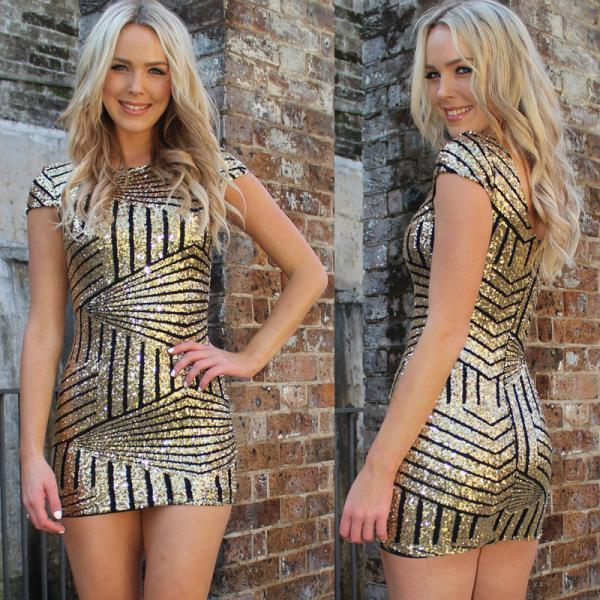Short Sleeve Sequin Party Dress in Silver and Gold