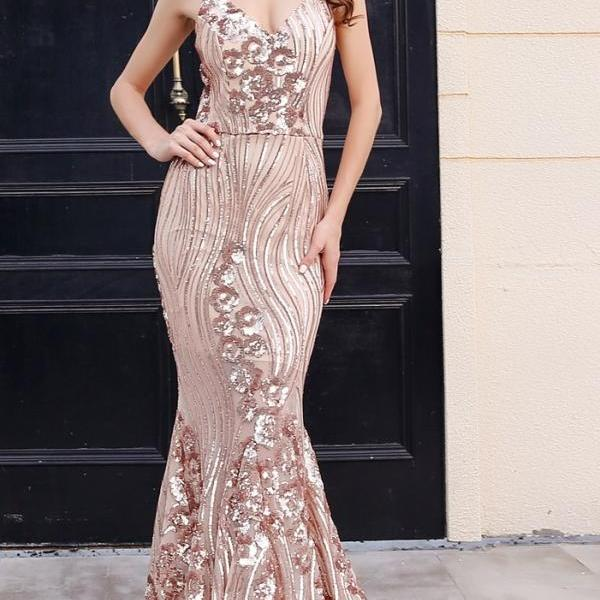 Sexy Elegant Gold Sequined Mermaid Party Dress