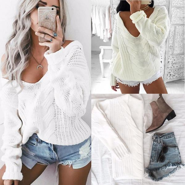 V Neck Knitted White Pullover Swaeter