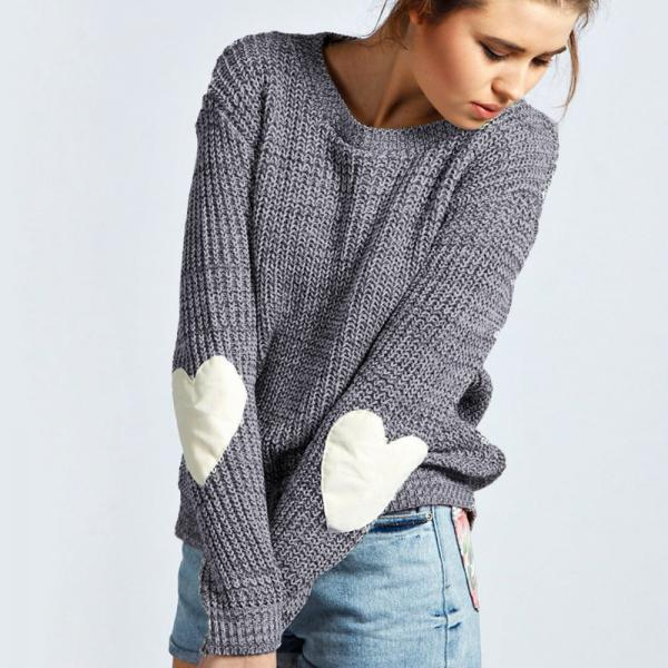 Autumn and Winter Knitted Heart Sleeves Grey Pullover Sweater