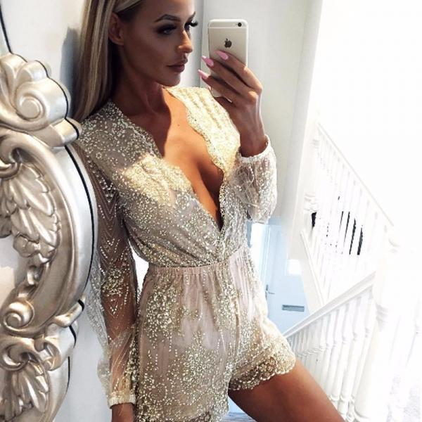V neck Long Sleeve Lace Sequined Romper