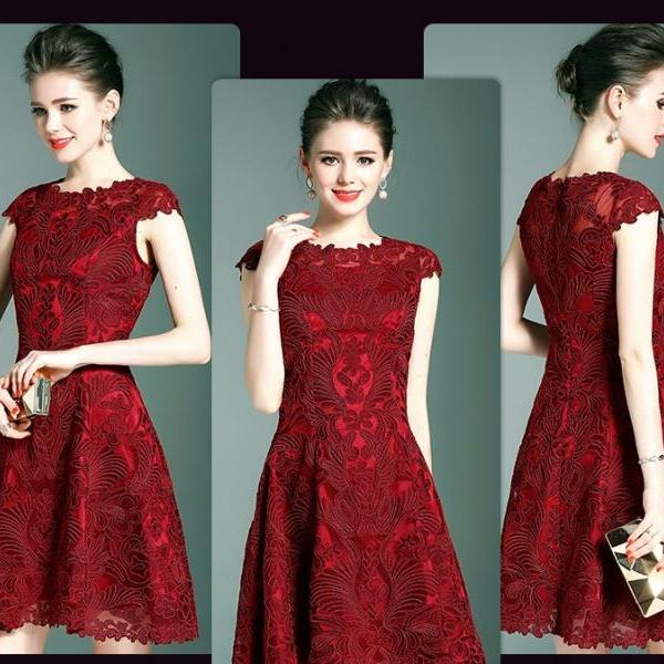 Red Embroidery Lace Party Dress