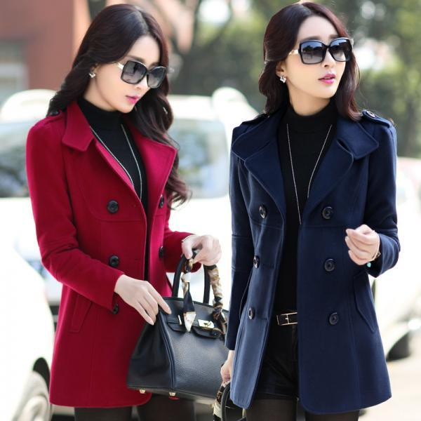 Stylish Double Breasted Woolen Winter Coat