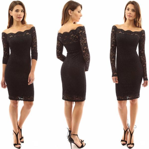 Off The Shoulder Long Sleeve Lace Dress in Black and White